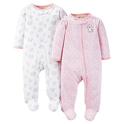 Carters Just One You Baby Girls Kitty 2-Pack Footed Sleeper - Pink (6 Months ) (Embroidered Footed Sleeper)