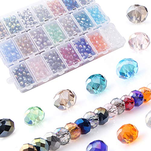 - Crystals Wholesale Briolette Crystal Glass Beads Finding Spacer Beads Faceted Rondelle Beads 6mm 21 Colors 1050pcs With Container Box Bead For DIY Craft Bracelet Necklace Jewelry Making。