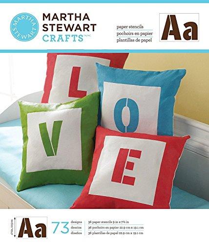 Martha Stewart Crafts Large Paper Stencil (9 by 7.5-Inch), 32983 Sans Serif Alphabet (36 Sheets with 73 Designs)
