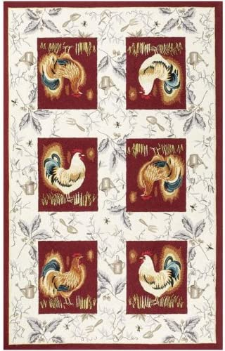 Amazon Com Country Rooster Rug 5 6 Round Burgundy Hand Tufted