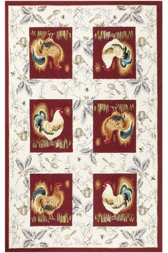 Country Rooster Rug 5u00276u0026quot; Round Burgundy
