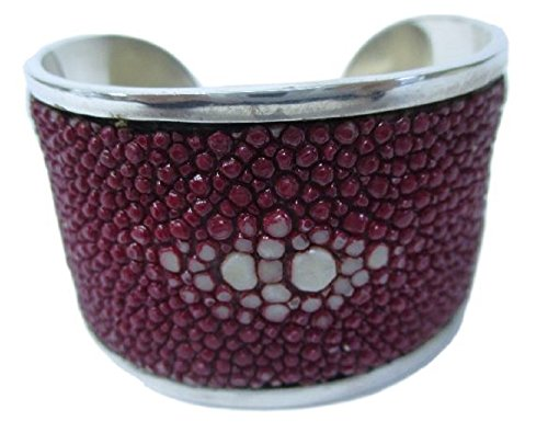 Timeless Drumsurn Imports Genuine Stingray Leather Silver Cuff, Burgundy