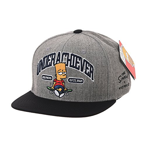 - WITHMOONS The Simpsons Ball Cap Bart Skateboard Snapback HL2755 (Grey)