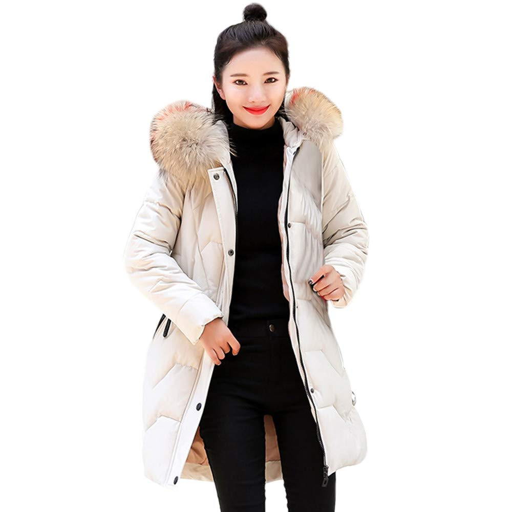 Dacawin Women Winter Windproof Warm Long Thicker Fur Collar Cotton Parka Slim Hooded Coat