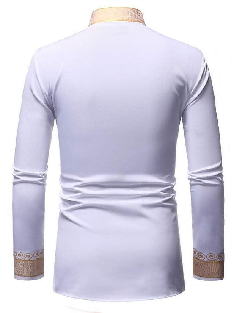 HTOOHTOOH Mens Print Long Sleeve Slim Fit Dashiki Shirt
