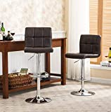 Roundhill Furniture 2 Swivel Elegant PU Leather Modern Adjustable Hydraulic Barstools, Brown Review