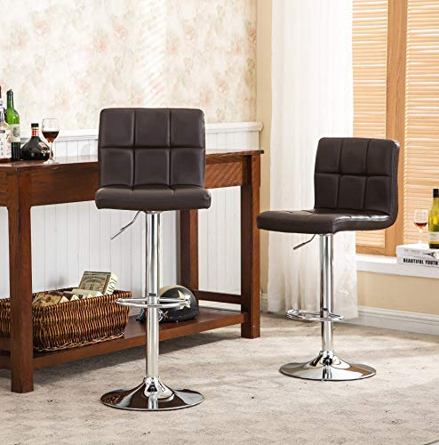 Roundhill Furniture 2 Swivel Elegant PU Leather Modern Adjustable Hydraulic Barstools, Brown