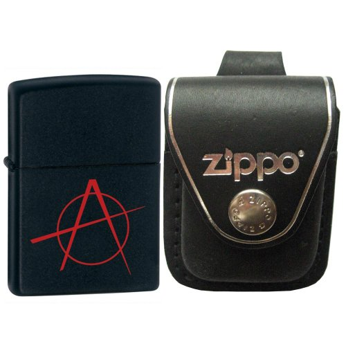 Zippo 20842 Classic Anarchy Black Matte Windproof Lighter with Zippo Black Leather Loop Pouch