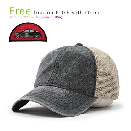 (Vintage Washed Cotton Soft Mesh Adjustable Baseball Cap (Charcoal/Charcoal/Khaki 96R))