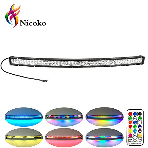 Nicoko 50 Inch 288w Curved LED Light Bar with Chasing RGB halo ring for 10 Solid Color Changing with Strobe Flashing Spot Flood Combo Beam IP67 waterproof Remote Control Wiring Harness Kit