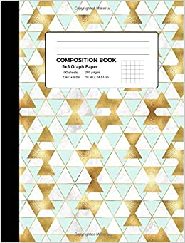 graph paper composition book gold geometric marble 5x5 graph rule