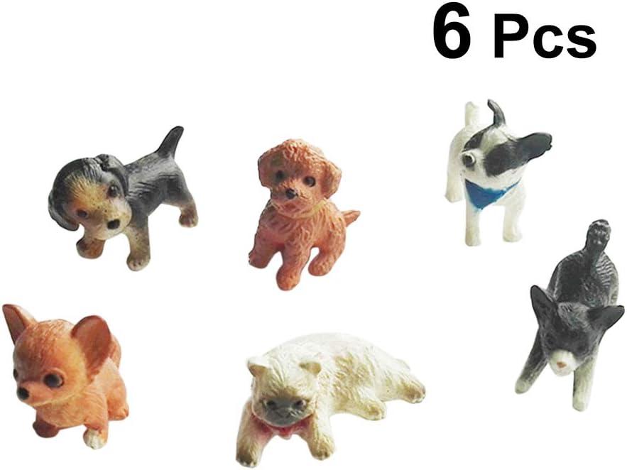 Toyvian Ornamento del Perro del Gato Figuras Mascota Cachorro Muñeca Juguetes Animales Modelo en Miniatura Decoración Adornos - 6pcs