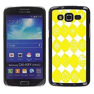 LECELL--Funda protectora / Cubierta / Piel For Samsung Galaxy Grand 2 SM-G7102 SM-G7105 -- Lemon Pattern White Bright Citrus Sun --