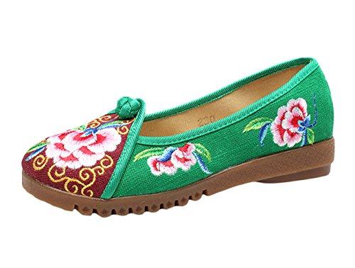 Insun Damen Ballerinas Freizeit Slippers Bequeme Flats Handgemachte Gestickte Schuhe Grün