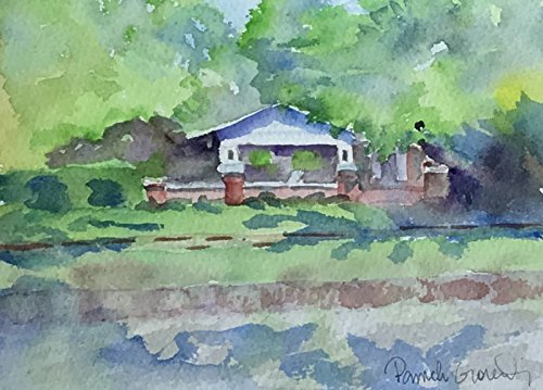 Plantation Iced Tea (Wide Front Porch with Hanging Baskets and White Chairs, Shady Street in Cleburne, Texas; 5 by 7 inches, Original Hand Painted Watercolor. Ready for Iced Tea in a Mason Jar)