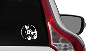 Music Note LP Record Car Vinyl Sticker Decal Bumper Sticker for Auto Cars Trucks Windshield Custom Walls Windows Ipad MacBook Laptop Home and More (White)