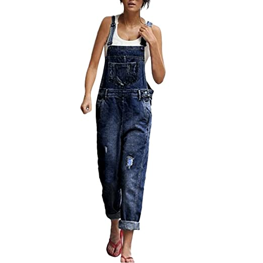 Clearance! Womens Classic Denim Bib Strap Ripped Distressed Pocket Overall Loose Pant Jeans Jumpsuits