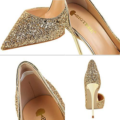 De Talons Plates Mariage Chaussures Fine escarpins Des chaussures Or mode Paillettes Sandales À Hauts Subfamily Féminine Creuses Avec Zwqx5UOP
