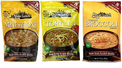 Shore Lunch Soup Mix 3 Flavor Variety Bundle, (1) Each: Minestrone, Tortilla, and Cheddar Broccoli, 9-11 Oz. Ea.