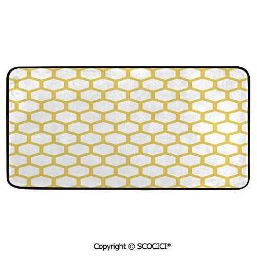 Honey Rectangular Rug - Soft Long Rug Rectangular Area mat for Bedroom Baby Room Decor Round Playhouse Carpet,Yellow and White,Hexagonal Pattern Honeycomb Beehive Simplistic,39