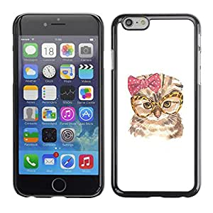 Paccase / SLIM PC / Aliminium Casa Carcasa Funda Case Cover - Cat Funny Glasses Bow Pink Owl Art - Apple Iphone 6 Plus 5.5