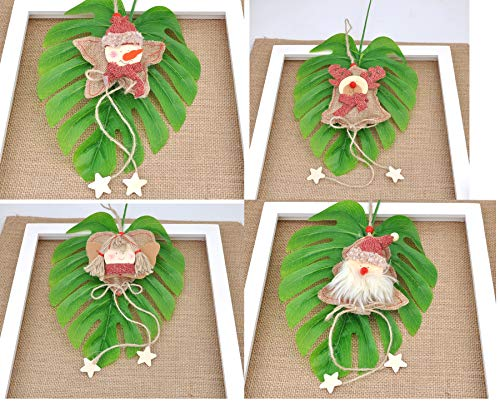 Love Wind Hanging Heart Christmas Home Decor 8pcs Rustic Burlap Moose/Snowman/Santa Claus/Bell by Love Wind (Image #7)