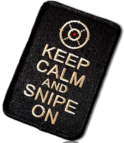 Keep Calm and Snipe On Vertical Oriented Rounded Corners Rectangle Sniper Rifle Round Scope Crosshairs Center Dot Symbol Icon Hook & Loop Fastener Patch [4