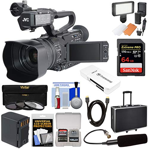 JVC GY-HM170U Ultra 4K HD 4KCAM Professional Camcorder & Top Handle Audio Unit with XLR Microphone + 64GB Card + Battery + Hard Case + LED Light Kit (Best Pro Camcorder For Weddings)