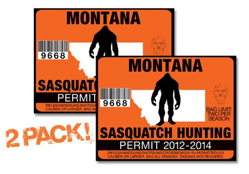 Montana-SASQUATCH HUNTING PERMIT LICENSE TAG DECAL TRUCK POLARIS RZR JEEP WRANGLER STICKER 2-PACK!-MT