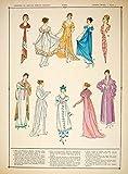 1922 Pochoir Print Costume Fashion Dresses Shawl First French Empire Women HCF2 - Orig. Print (Pochoir)