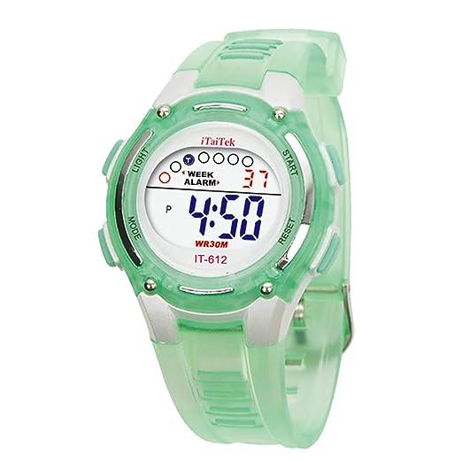 Cebbay Liquidación Imported Niños Niños Niñas Unisex Natación Deportes Digital Impermeable muñeca Reloj (Verde)