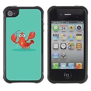 Híbridos estuche rígido plástico de protección con soporte para el Apple iPhone 4 / 4S - crab lobster smart teacher teach