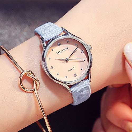 Women Gift Between Sweet Literary Elegance Gold Belt Women Girls Form Diamond Jelly Watch Student Creativity (Blue Belt (Model Bracelet + Gift + Battery)