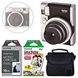 FUJIFILM INSTAX Mini 90 Neo Classic Instant Camera (Black) + Fujifilm Instax Instant Film (20 Exposures) & Instax Mini Monochrome Film (10 Exposures) + Camera Case - Deluxe Accessory Bundle