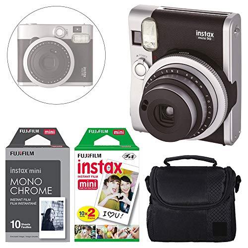 FUJIFILM INSTAX Mini 90 Neo Classic Instant Camera (Black) + Fujifilm Instax Instant Film (20 Exposures) & Instax Mini Monochrome Film (10 Exposures) + Camera Case - Deluxe Accessory Bundle