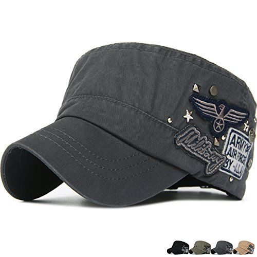 Rayna Fashion Unisex Adult Cadet Caps Military Hats Star Studs USA Eagle (Studs Military Cap)