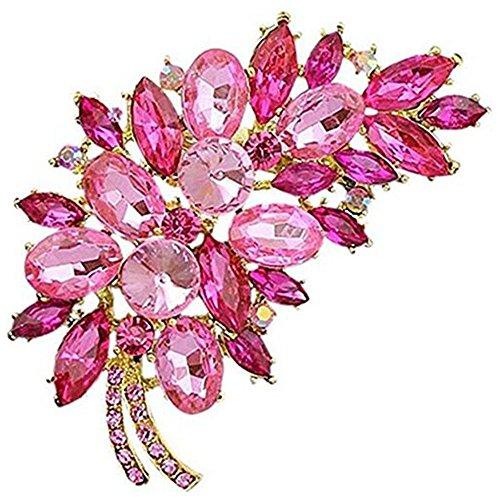 Bai You Mei Womens Vintage Brooches and Pins Fashion Feather Fancy Circle Flower Design Crystal Rhinestone Brooch ()