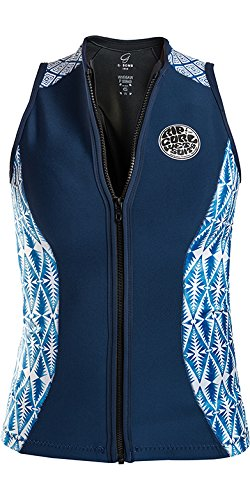Rip Curl G Bomb 1MM Sleeveless Neoprene Wetsuit Vest Top Blue - E-Stitch - Front Zip Entry