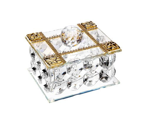 5th Avenue Collection Authentic Italian Crystal Jewelry Box 18kt Gold Plated Rectatangle with Swarovski Crystals
