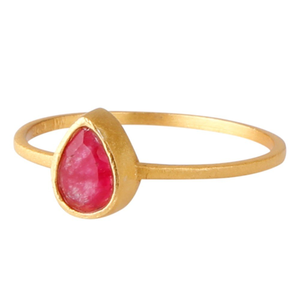 Nathis Elegant and feminine ring with a drop shaped red Ruby gemstone