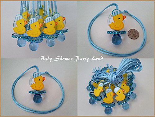 12 Duck Pacifier Necklaces Baby Shower Game Blue Favors Prizes ~ Boy -