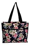 Medium Fashion Print Zipper Top Tote Bag (Lily Rose)