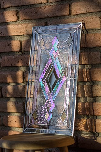 (Mexicolour Tiffany Style Stained Glass Window Door Insert Beveled Diamond & Swirls Elegance)