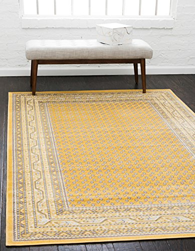 Unique Loom Williamsburg Collection Low Pile Height Tribal Traditional Overall Pattern Yellow Area Rug (4' x 6')