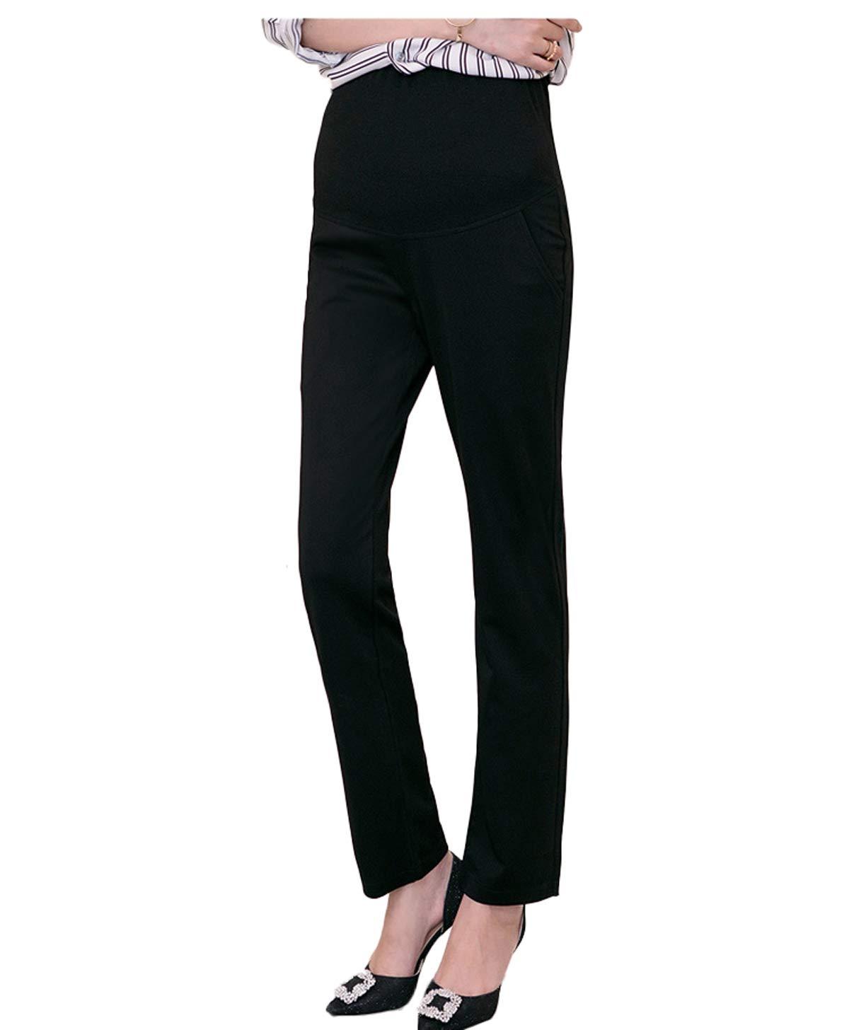 Maternity Pants Career Wear Maternity Slacks Pregnancy Trousers (XX-Large, Black) by Funfreeyer