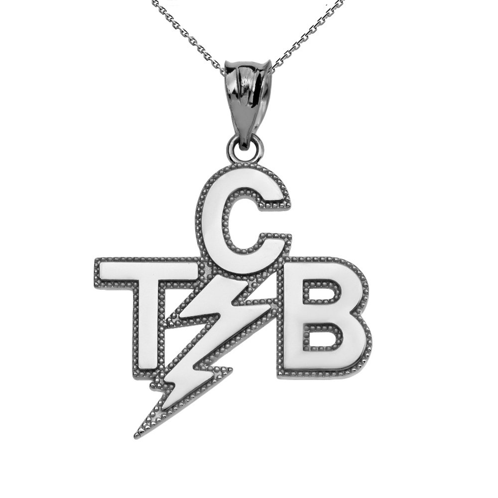 Taking Care of Business In A Flash (TCB) 10k White Gold Pendant Necklace, 20''