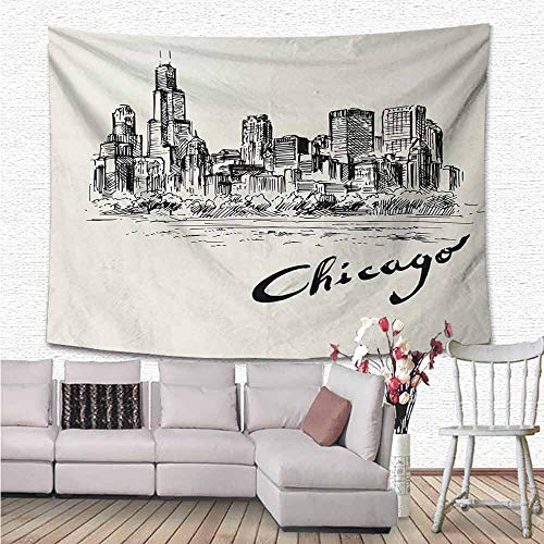 Chicago Skyline Wall Hanging 3D Printing Tapestry, Vintage Artwork of American City in Hand Drawn Style Sketchy Effects Decorative Tapestry for Bedroom Living Room Dorm, 72