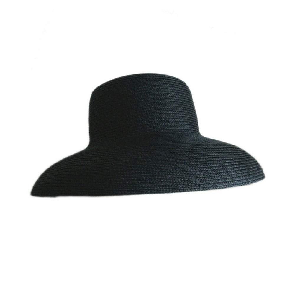 Gobling Fashion 2019 Women Summer Straw HatSun Hat Elegant Lady Wide Brim Floppy Beach Female Visor Bucket Sun Hat (Color : Black, Size : 56-58CM)