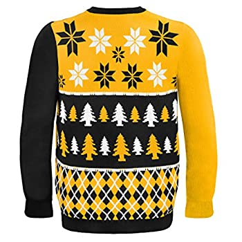NFL Football 2014 Ugly Christmas Sweater Busy Block Design - Pick Team! (Pittsburgh Steelers, Large)