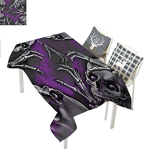 WilliamsDecor Skull Decor Table Cloths Spill Proof Scary Creepy Spooky Happy Smiling Skeleton with Boned Hand Art PrintPurple Grey and Black Rectangle Tablecloth W60 xL120 inch ()